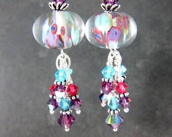 Purple Turquoise Blue Pink Crystal Earrings, Boho Chic Dangle Earrings, Colorful Pastel Glass Earrings, Bohemian Jewelry. Lampwork Earrings