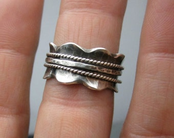 Wavy Spinner Ring Worry Ring Size 6 (5.5), Sterling Silver
