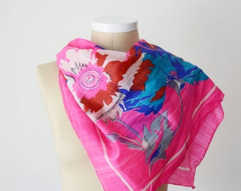 HOT PINK 1970s Bebe London Floral Indian Silk Scarf