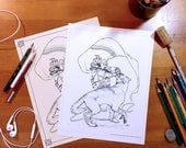 Adult Coloring Sheet - Tyr vs Fenrir - 4 files - Printable, Instant Download, DIY, Wolf, Norse, Mythology, Epic