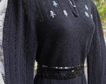 medium Civil War Colonial Pioneer dress meets Victorian dress style 1800s dress look, Thin lightweight soft yarn dress, Black Sweater Dress
