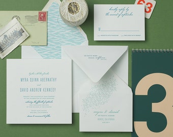 Tobias Letterpress Wedding Invitation Sample
