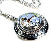 Large Locket Steampunk Vintage Watch Movement Necklace