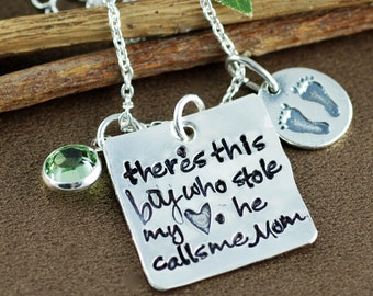 There's This boy who Stole my Heart, Hand Stamped Necklace, Personalized Mother's Necklace, Mother's Necklace, Grandma Necklace