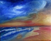 Original oil painting Sunset Waves