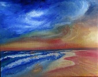 Original oil painting Sunset Waves