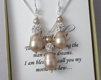 Champagne Pearl Jewelry Set, Mother of the Groom Gift Jewelry Set, Swarovski Powder Almond Drop Pearl Jewelry Set, Champagne Wedding Jewelry