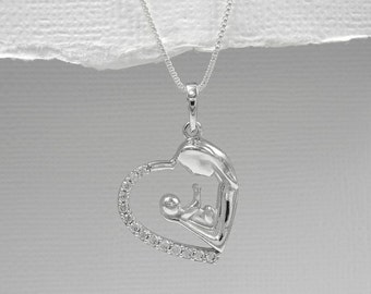 Mother and Child Necklace, Sterling Silver and CZ Mother and Child Necklace, Gift for New Mom, New Mom Gift, Baby Shower Gift, Gift for Wife