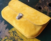 NEW! Mustard Yellow Suede Clutch