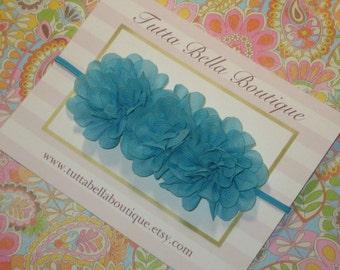 Turquoise Flower Headband, Blue Baby Headband, Turquoise Flower, Baby Hair Bow, Toddler Headband, Newborn Headband, Girls Hair Bow
