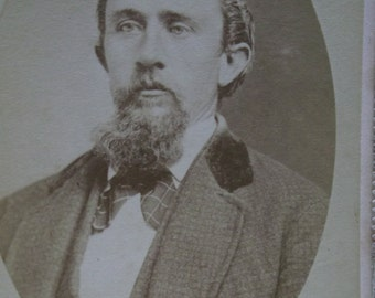 Antique CDV Photo-Handsome Man-Beard-Mustache-Wavy Hair-Fashion-Minneapolis,MN
