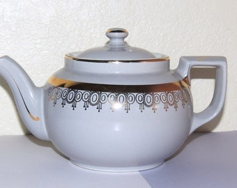 HALL 8 Cup Baby Blue and Gold Teapot