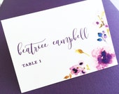Wedding Place Cards, Escort Cards, Table Cards, Place Cards, Table Name Cards, Name Cards, Spring Wedding, Purple Peony Place Cards