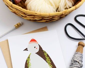 Merrily Penguin Card, Holiday Card, Merrily, Penguin Card, Winter Penguin, Christmas Card, Cute Holiday Card, Fresh Holiday Cards