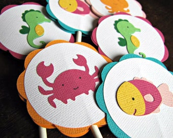 Under The Sea Party Cupcake Toppers, Girl Sea Animal Cupcake Toppers, Girl Birthday Party, Swim Party, Beach Party, Pool Party, Set of 12