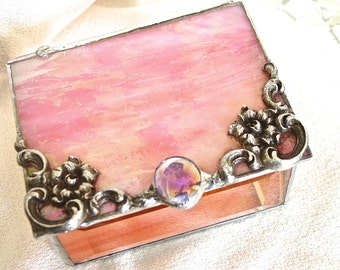 Pink and Peach Glass Box