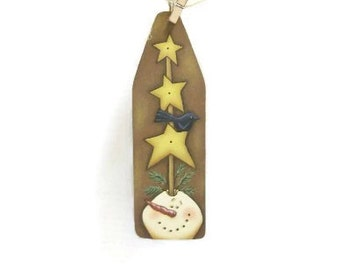 Hand Painted Snowman On Ironing Board Shape Ornament