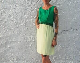 SALE Vintage 1960s Mid Century Emerald Green Sequin Cockail Mad Men Dress XS/S