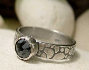 Snowflake Obsidian Ring, Sterling Silver Gemstone Ring, Black Gemstone Ring, Black Obsidian Ring, Rustic Cabochon Ring, Obsidian Jewelry