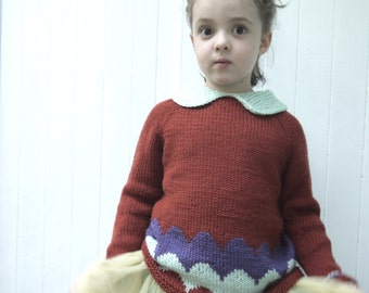 Girls Sweater - NEW - size 4-6 - soft merino wool - seamless ragalan cut