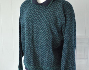Vintage LL Bean Ladies Sweater 80s 90s Geometric Sweater Teal Triangles Comfy Winter XL