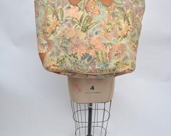 vintagetapestry leather bag vintage bag tote carry on safari LARGE