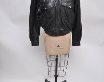 vintage leather jacket BOMBER womens leather jacket biker cropped punk 80s liz claiborne collections small buttery