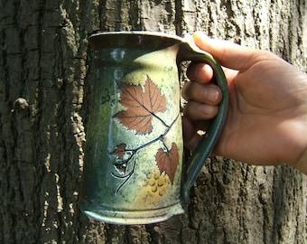 large coffee mug tanker 20 ounce in green leaf pattern beer mug