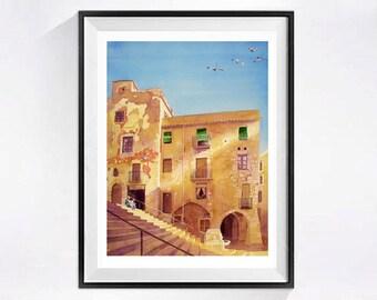 Spanish Art - Watercolor Fine Art Print / Spanish ancient city / Roman architecture / Roman arch / Vacation/ Tappas / blue yellow /