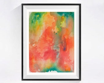 Bright Abstract Art Posters,  PRINT,  Modern Watercolor Paintings,  Bright colorful pink orange,  Home decor