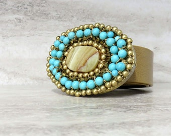 Turquoise Buckles-Large Boho Oval Belt Buckle in Turquoise & Gold for Jeans Handmade by Sharona Nissan (Cool Gifts for Her)