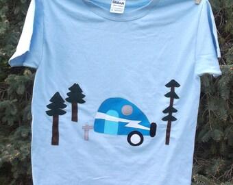 Retro Vintage Camper Applique T shirt Kids Happy Camper