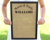 Personalized Family Sign Dry Erase Board Custom Home Decor Country Home Burlap (Item Number NVMHDA1507)
