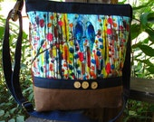 Colorful Birds Tote/Ready to Ship /Waxed Canvas / Ultra Suede Fringe/ Large interior Zipper pocket/3 large open pockets/Great School Bag