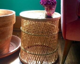 Vintage Wicker Plant Stand Planter Basket Storage Umbrella