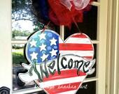 Patriotic Heart Door Hanger - Bronwyn Hanahan Art