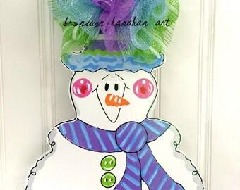 READY TO SHIP! Happy Winter Snowman Door Hanger - Bronwyn Hanahan Art