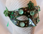 Brittle Green Chrome Spike Hand Painted Mask