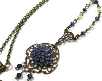Purple Victorian Style Necklace, Violet Swarovski Crystal Vintaj Brass Floral Vintage Style Necklace, Flower Jewelry, Periwinkle, Under 50