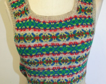 1940's  Authentic WWII Hand Knitted Fairisle Spencer