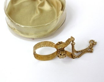 Vintage 50s Glove Holder by Klik Glove Lock for Handbag Goldtone Metal w Design Original Box