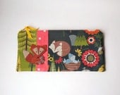 """Zipper Pouch, 5.25x10.75"""" in Navy, Green, Red, Blue, Brown, Mustard and Cream Woodland Fabric with Handmade Felt Fox, Fox Pencil Case"""