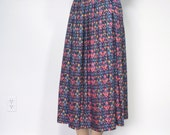 Vintage Skirt Full Skirt Gathered Skirt Midi Floral 1980's Size 12