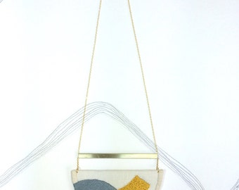 MAHLER - Linen, Thread and Gold Necklace - Steel Grey