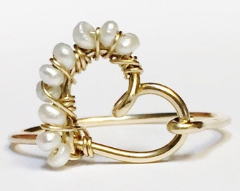 Pearl Ring   Dainty Ring   Heart Ring  Pearl Jewelry  Gold Ring   14K Gold Fill
