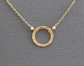 delicate necklace, dainty gold necklace, small circle necklace, tiny necklace, thin necklace, everyday necklace, bridesmaids wedding gift
