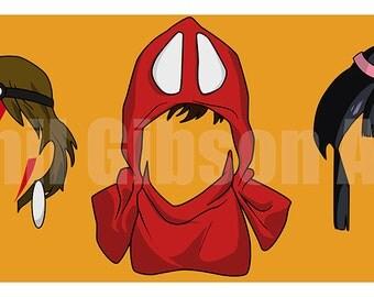 "Original Princess Mononoke Art Print San Ashitaka Anime Poster 10"" x 20"""