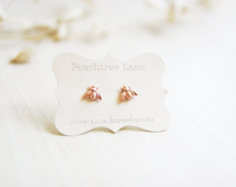 Tiny Copper Bee Earrings >> Honeybee Rose Gold Post Earrings << Bridesmaid Gifts >> Bee Themed Wedding >> Bridal Party Gifts
