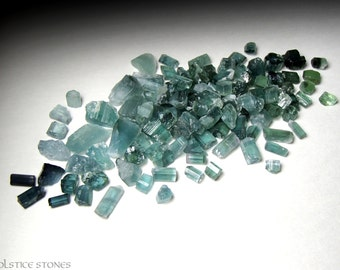 Wholesale Lot of Blue Green Tourmaline Crystals, Tiny Rough Pieces // Heart & Third Eye Chakra // Crystal Healing // Mineral Specimens