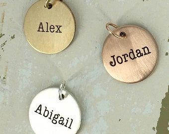 Personalized name charm - Name Charm - Personalized Charm - Gold filled personalized charm - Gold-filled, Sterling silver, or Rose GF
